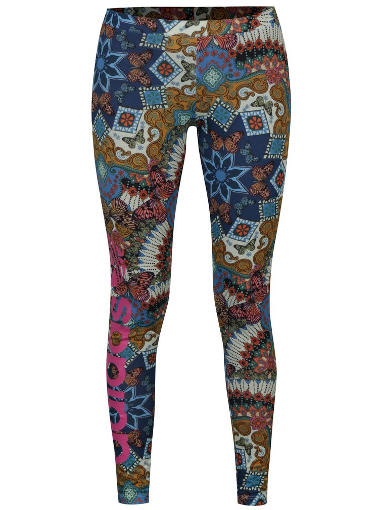 Leggings verzi cu print abstract - adidas Originals