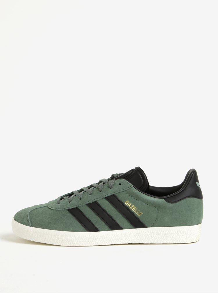 Pantofi sport verzi din piele intoarsa pentru barbati adidas Originals Gazelle
