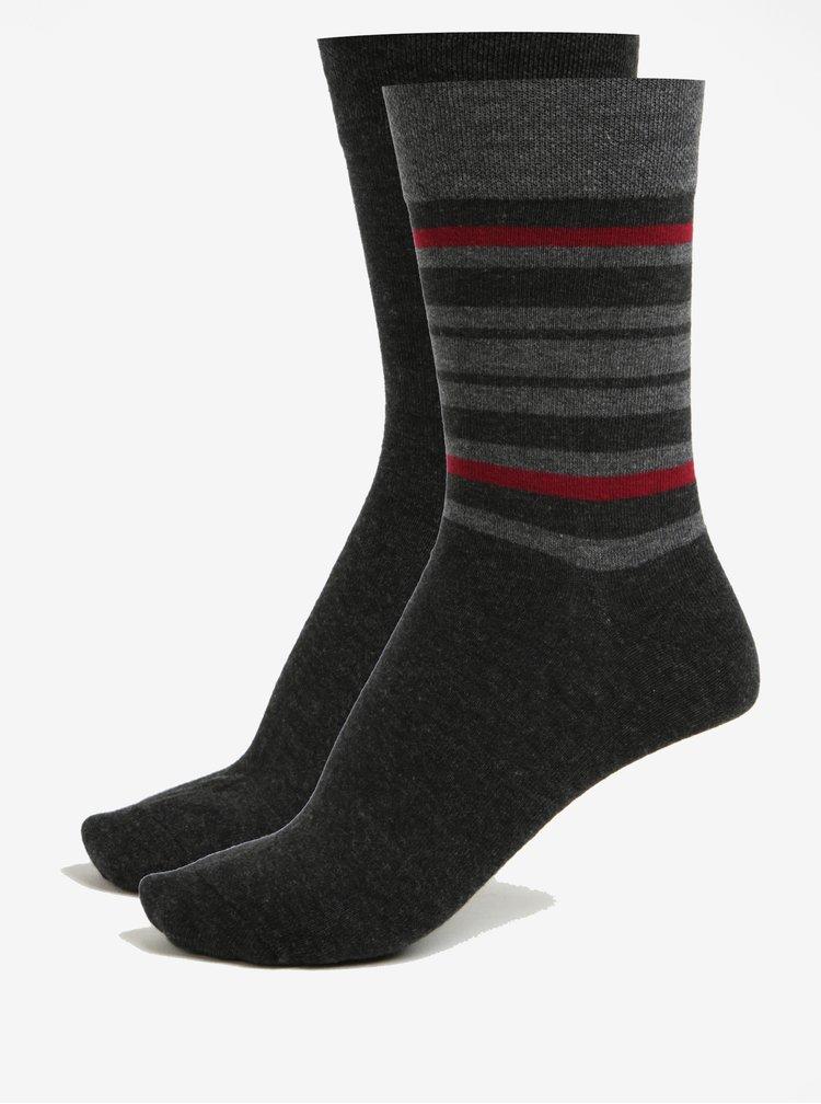 Sada dvou párů pánských pruhovaných ponožek v tmavě šedé barvě JELL
