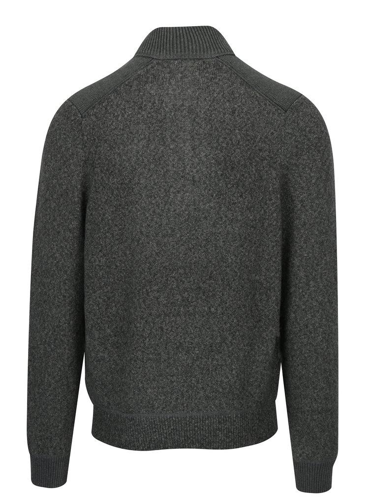 Šedý pánský žíhaný svetr se stojáčkem s.Oliver