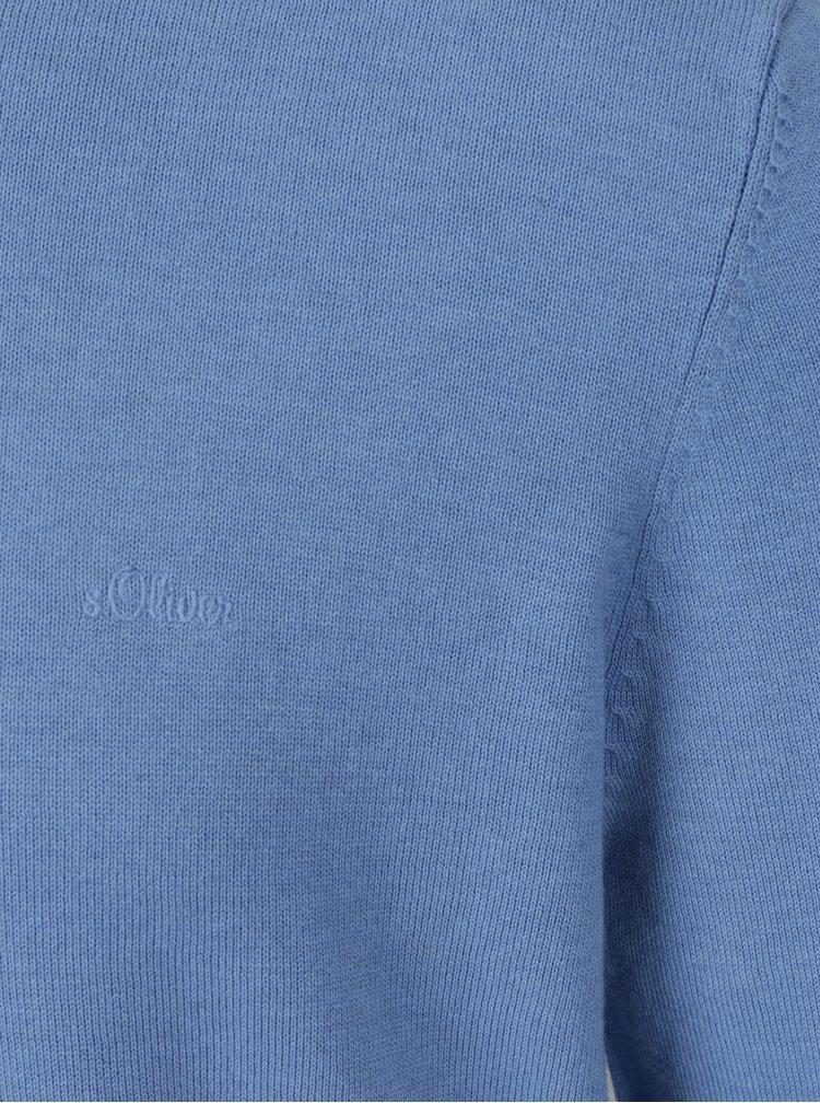 Pulover albastru melanj cu logo brodat s.Oliver