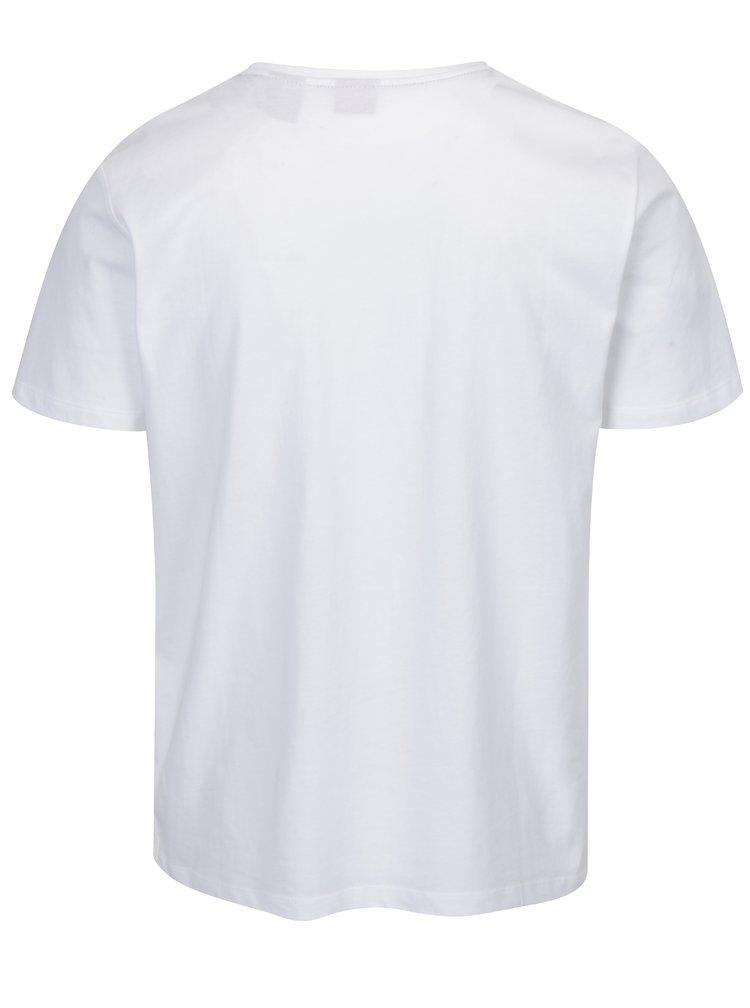 Bílé pánské tričko s potiskem a pruhy na bocích s.Oliver