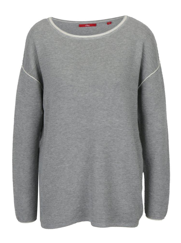 Šedý dámský pruhovaný lehký svetr s.Oliver