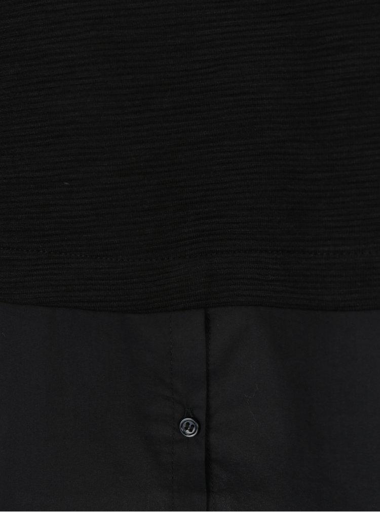 Černá dámská lehká mikina s všitou košilí s.Oliver