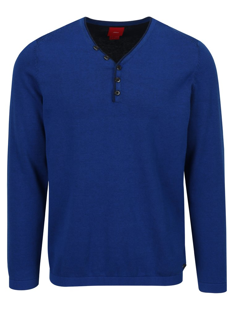Modrý pánský svetr s véčkovým výstřihem a knoflíky s.Oliver