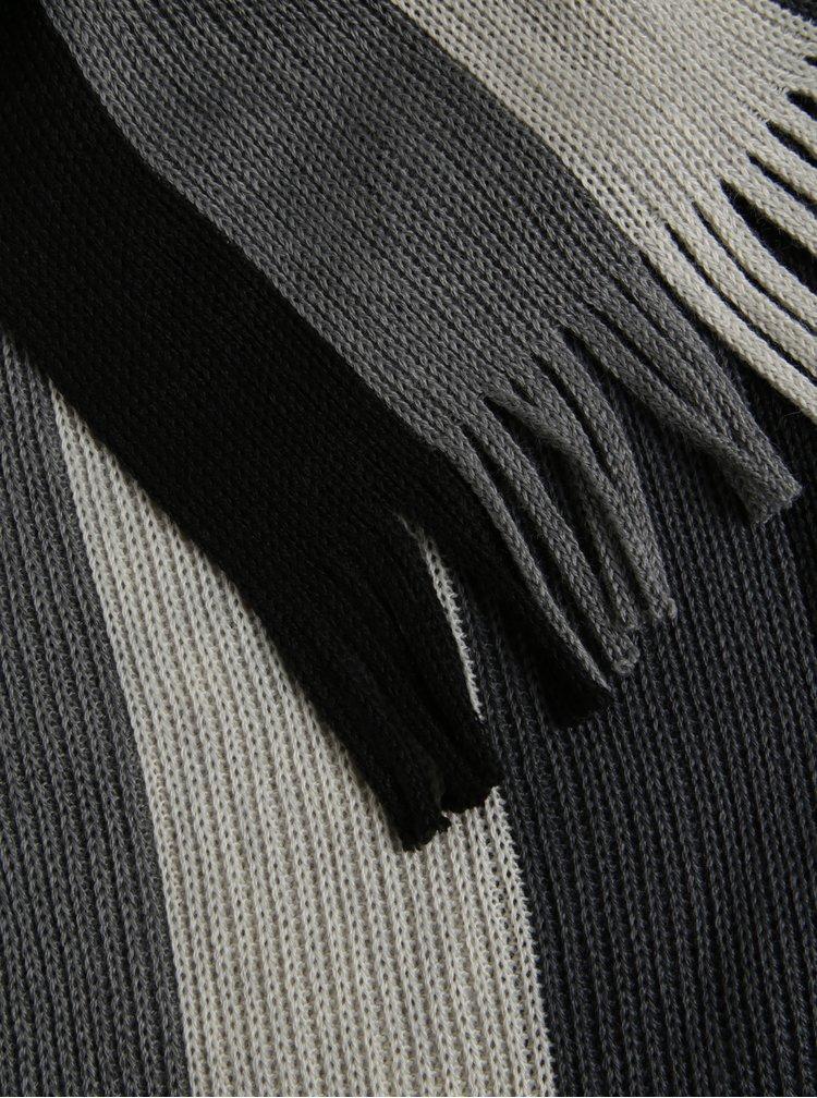 Fular gri&negru in dungi din amestec de lana  s.Oliver
