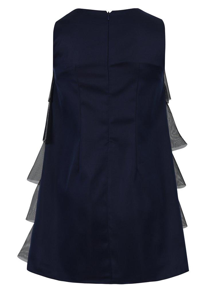 Tmavě modré holčičí šaty s tylovými volány 5.10.15.