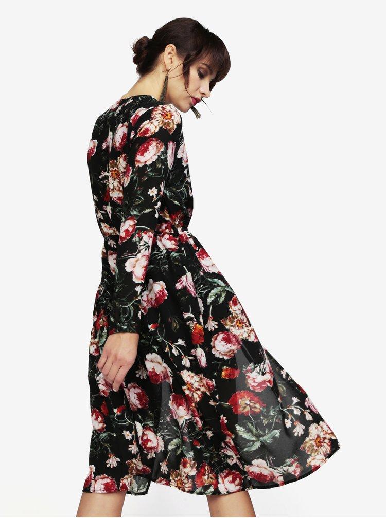 Černé květované šaty s páskem MISSGUIDED