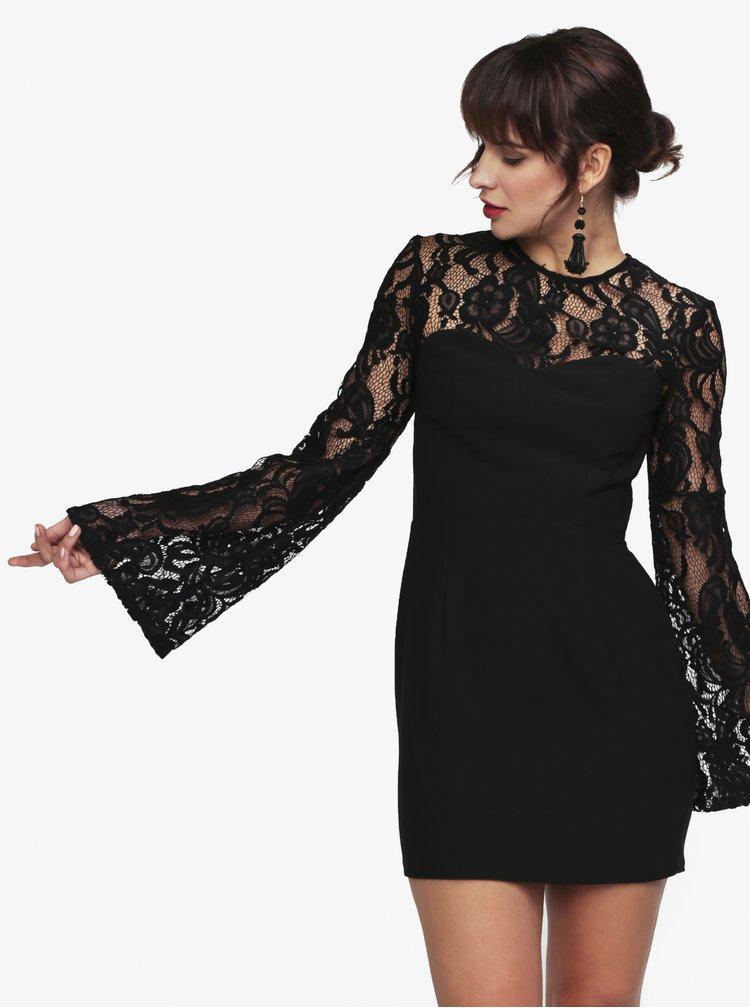 Rochie neagra cu maneci clopot din dantela - MISSGUIDED