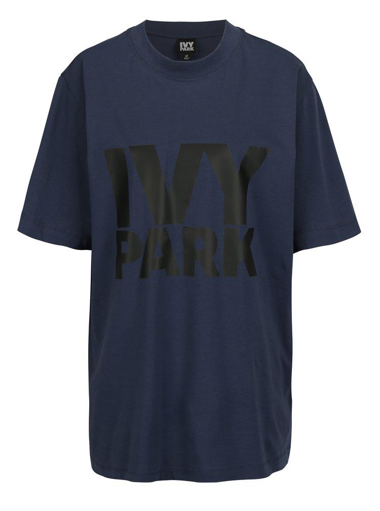Tmavě modré oversize tričko s potiskem Ivy Park