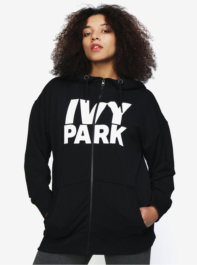 Černá oversize mikina se zipem a potiskem Ivy Park