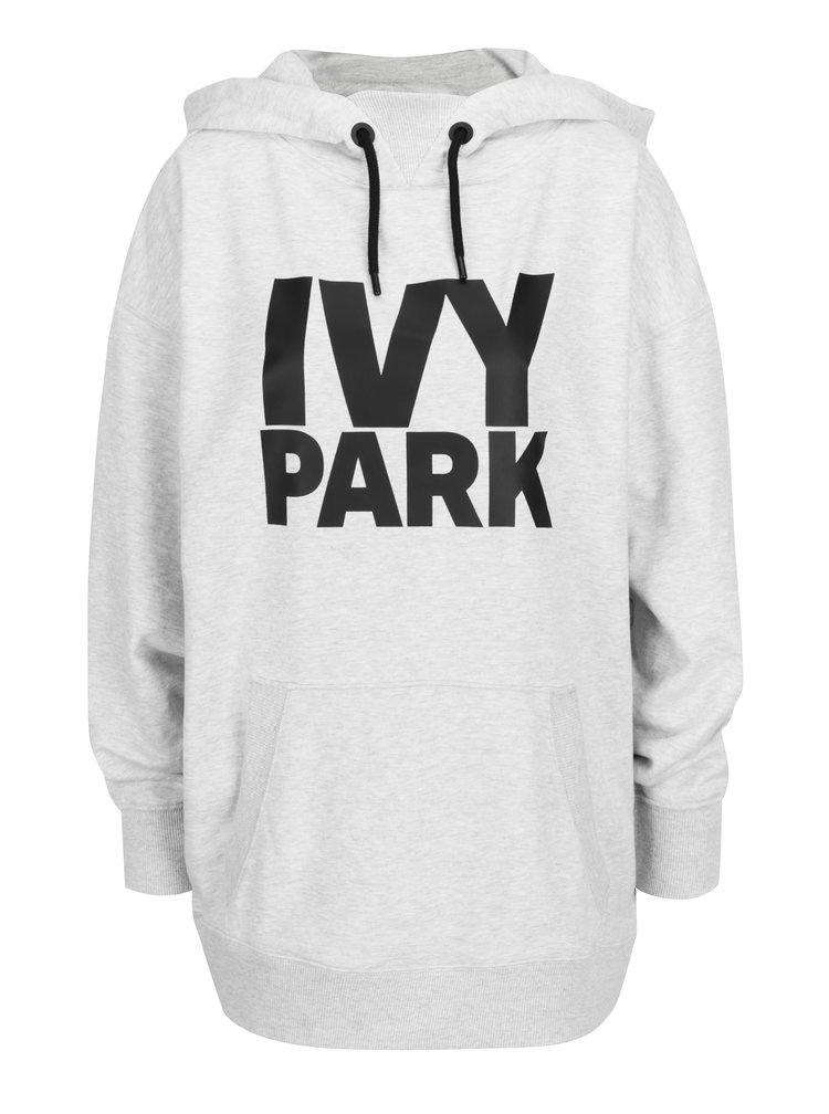 Šedá oversize mikina s kapucí a potiskem Ivy Park