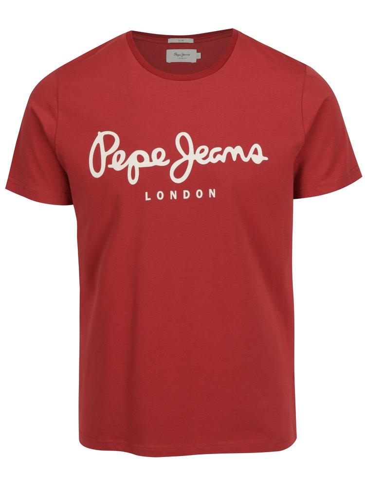 Červené pánské slim fit tričko s potiskem Pepe Jeans Original