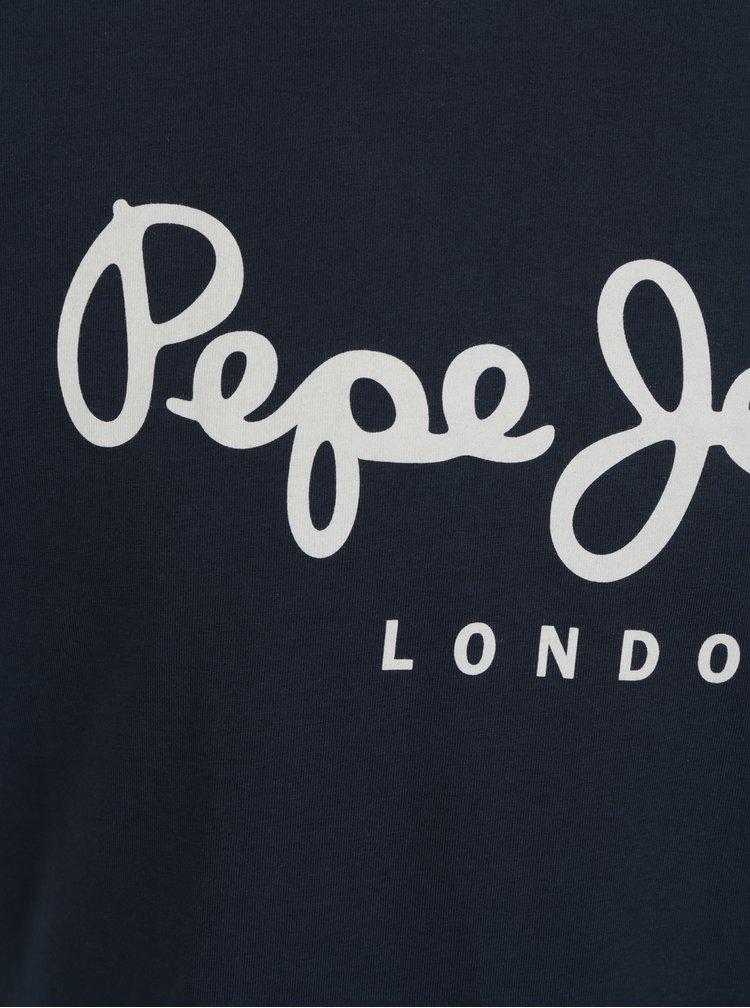 Tricou bleumarin slim fit cu logo pentru barbati - Pepe Jeans Original
