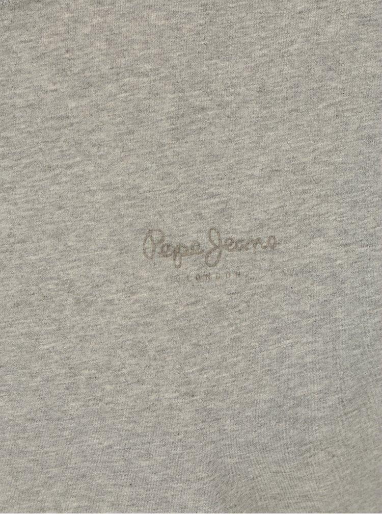 Šedé pánské slim fit tričko s potiskem Pepe Jeans Original Basic