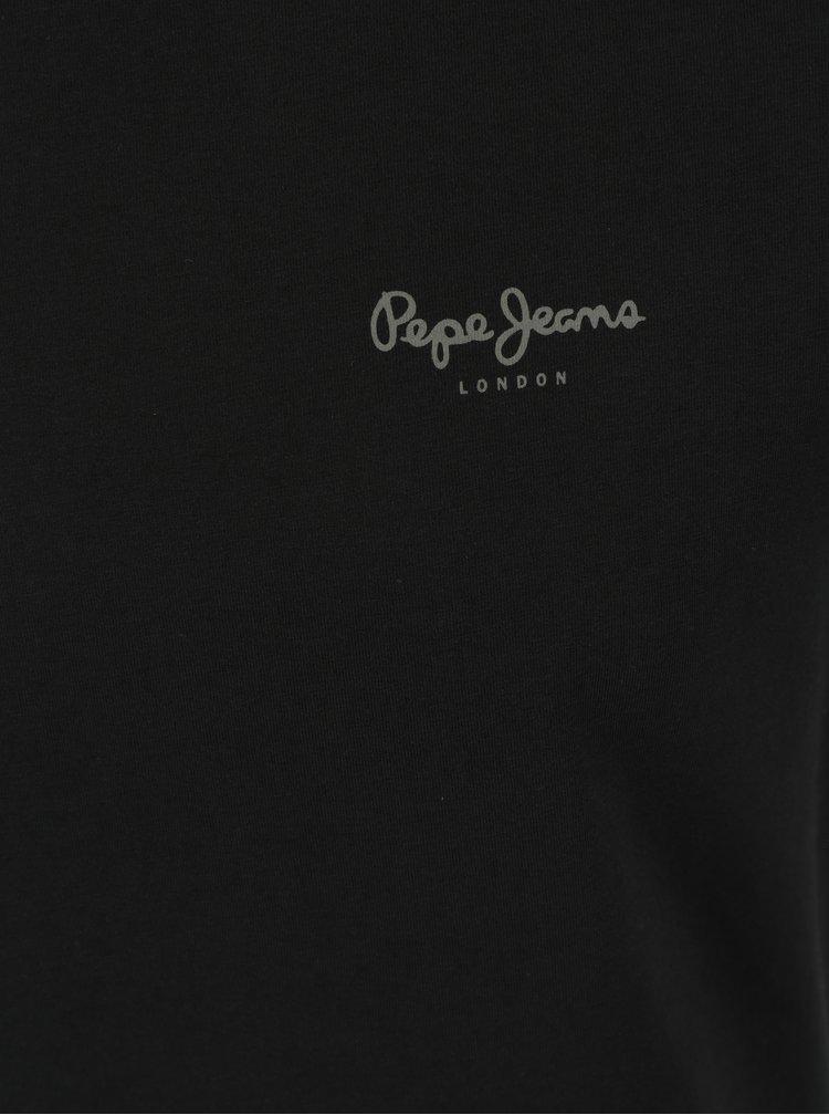 Tricou negru slim fit cu logo pentru barbati - Pepe Jeans Original Basic