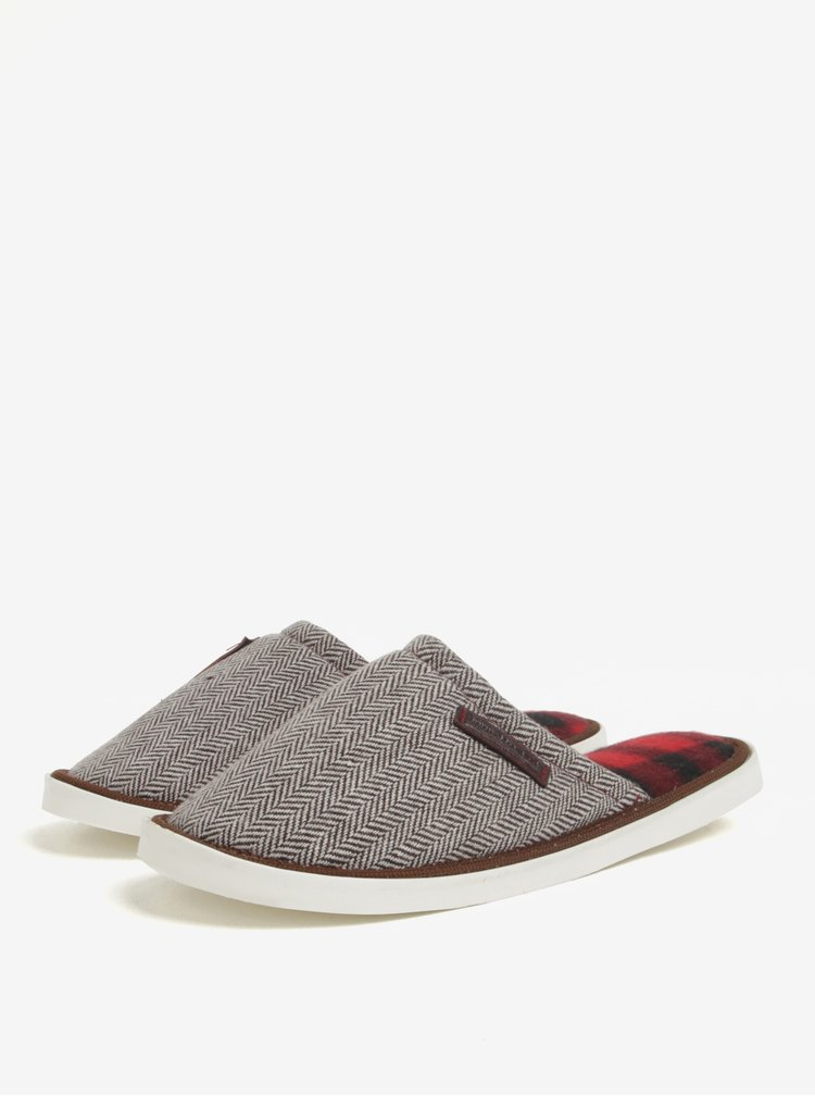 Krémovo-hnedé vzorované papuče Oldcom Luxhome