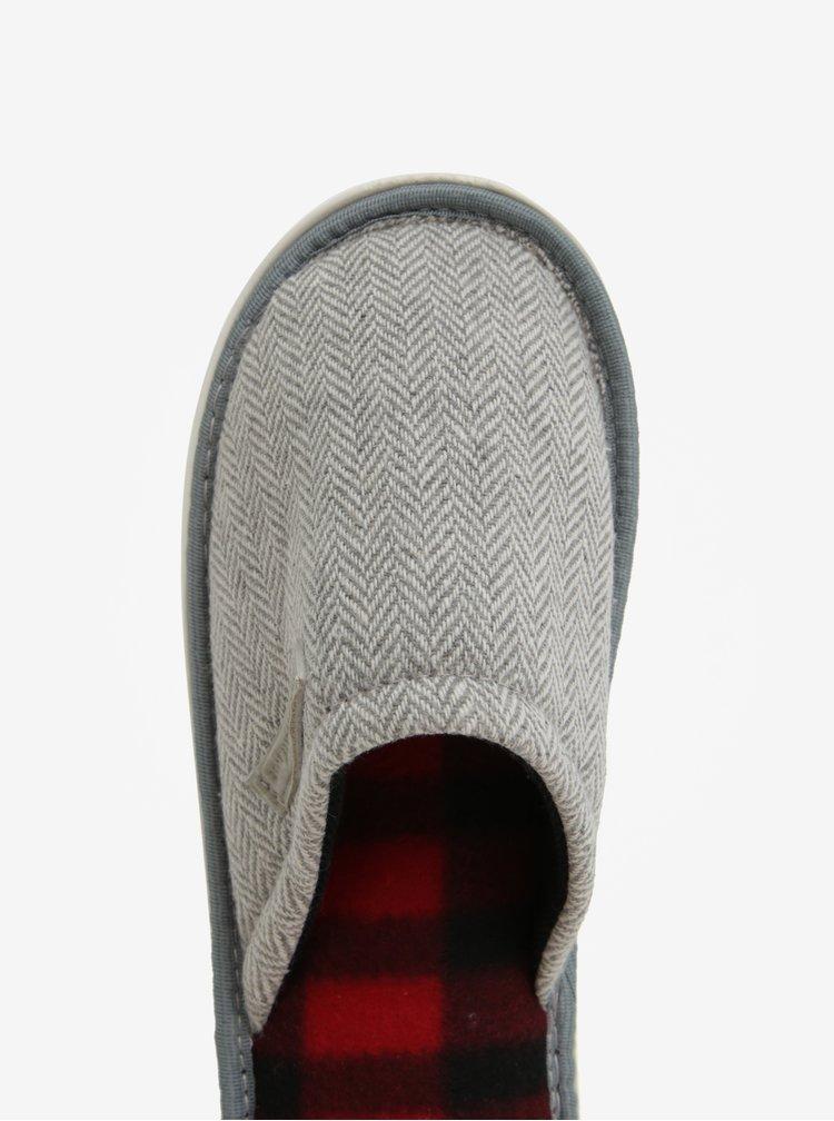 Papuci de casa gri&crem cu model chevron Oldcom Luxhome