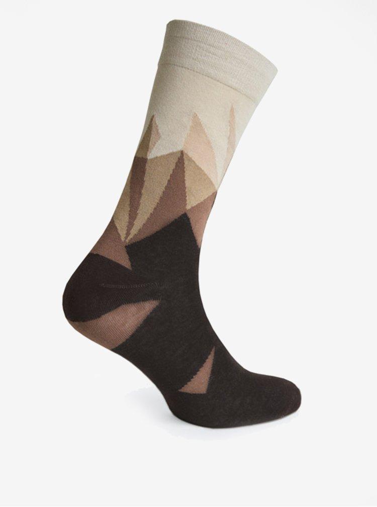 Krémovo-hnědé vzorované unisex ponožky V páru
