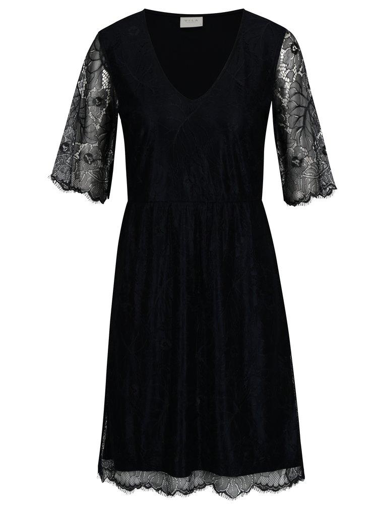 Tmavě modré šaty s průsvitnými rukávy VILA Ambera