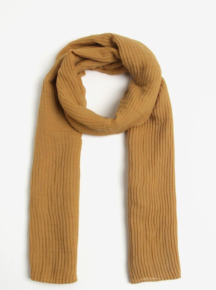 Hořčicový žebrovaný šátek ZOOT