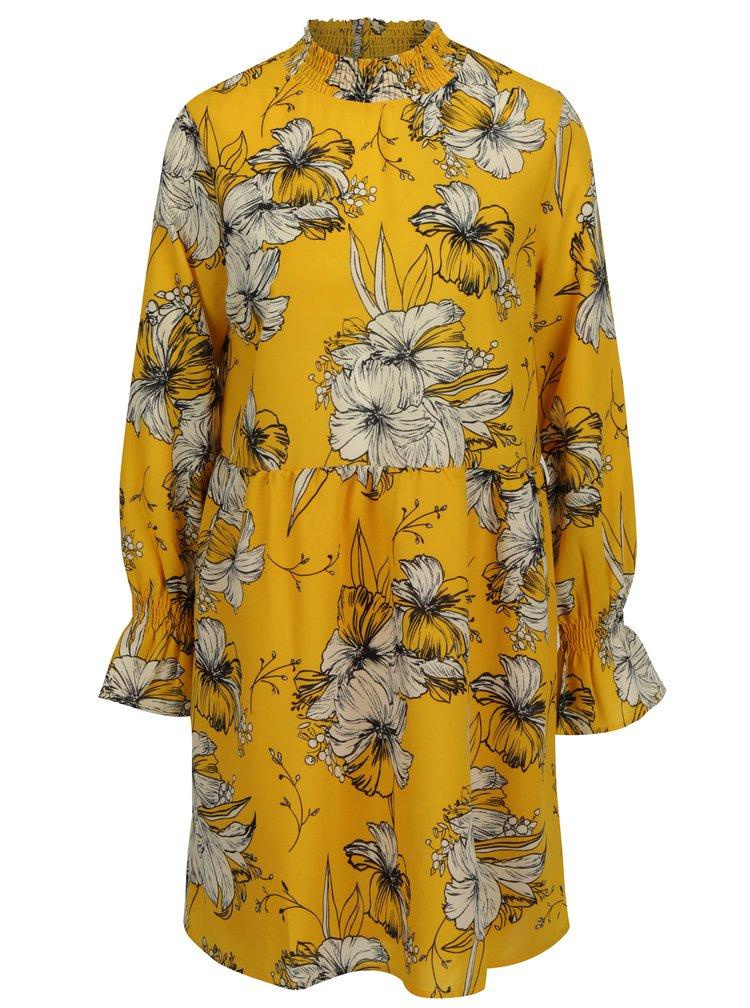 Žluté květované šaty s dlouhým rukávem VILA Floppy