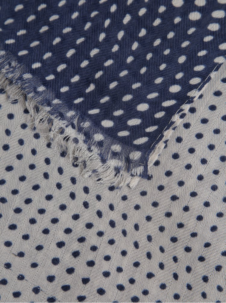 Esarfa bleumarin& bej cu buline stilizate ZOOT