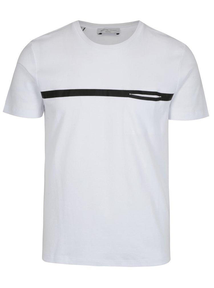 Bílé tričko s potiskem a náprsní kapsou Selected Homme Tape