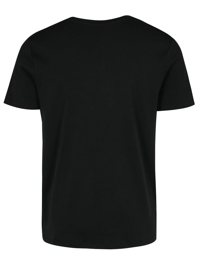 Černé tričko s potiskem a náprsní kapsou Selected Homme Tape