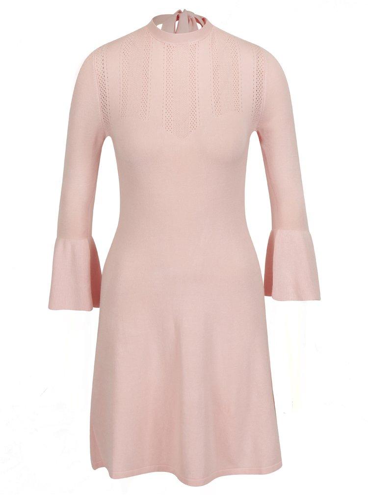 Světle růžové svetrové šaty s volány Miss Selfridge