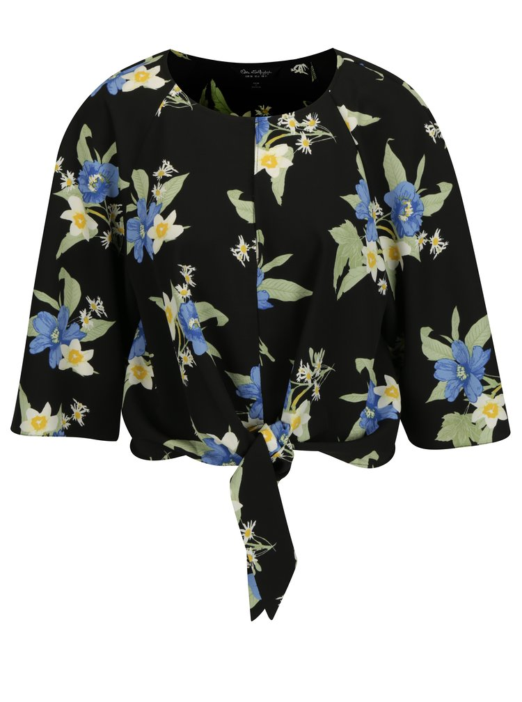 Černý květovaný crop top s 3/4 rukávem Miss Selfridge