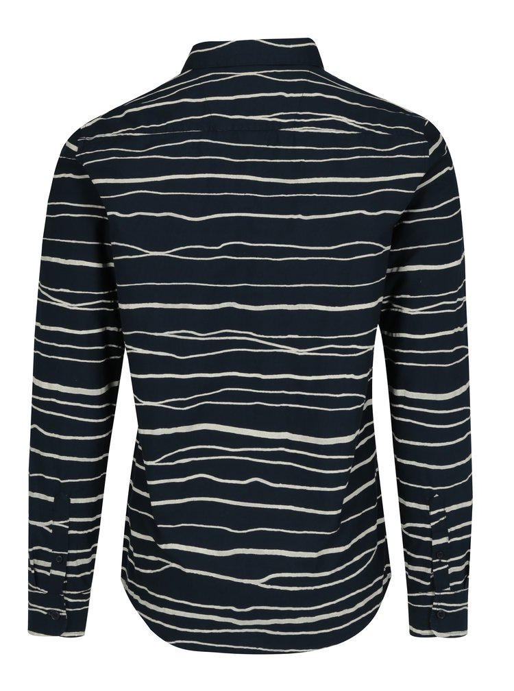 Krémovo-modrá pruhovaná slim košile ONLY & SONS Nathan