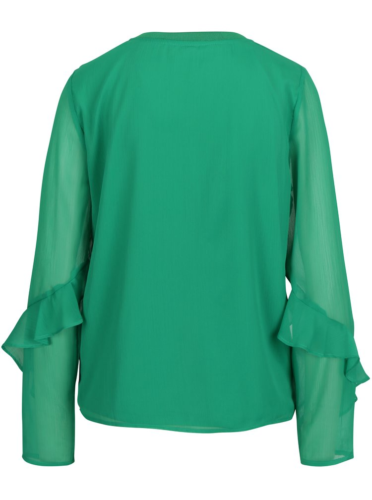 Zelená halenka s průsvitnými rukávy VERO MODA Ava