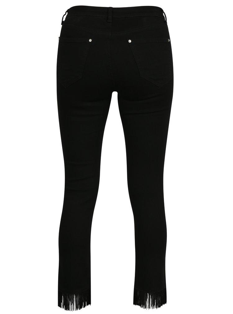 Černé zkrácené super skinny džíny s třášněmi Miss Selfridge