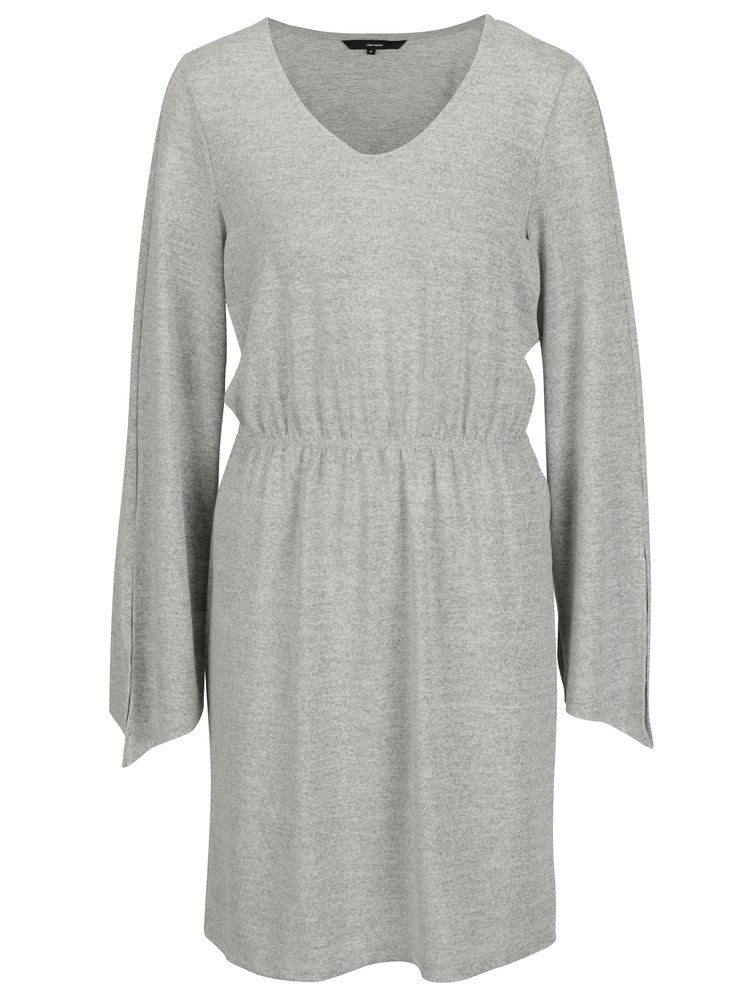 Světle šedé volné žíhané šaty VERO MODA Naturall
