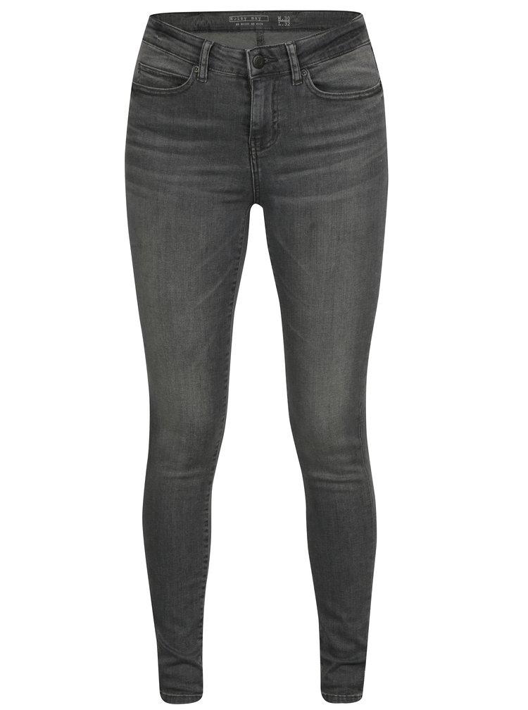 Šedé skinny džíny s vyšisovaným efektem Noisy May Julie