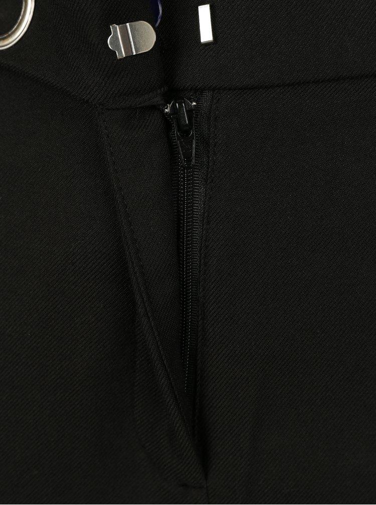 Černé zkrácené kalhoty s vysokým pasem VERO MODA Rony