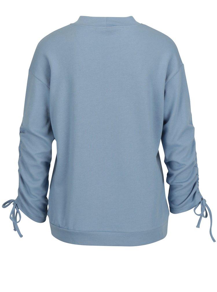 Světle modrá mikina s řasením na rukávech VERO MODA Macy