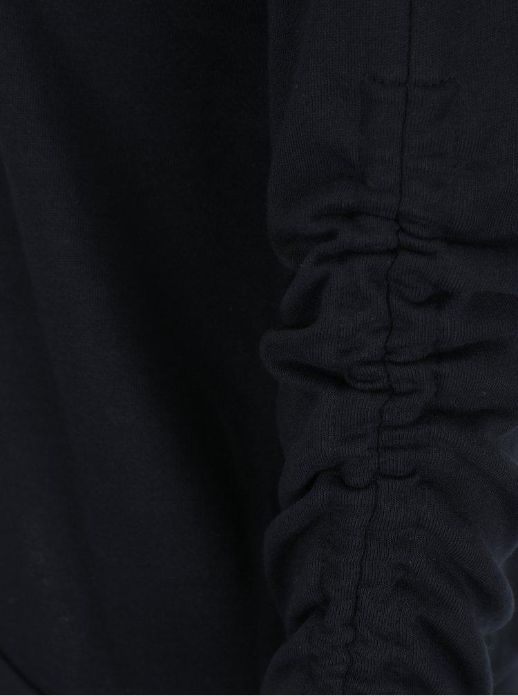 Tmavě modrá mikina s řasením na rukávech VERO MODA Macy