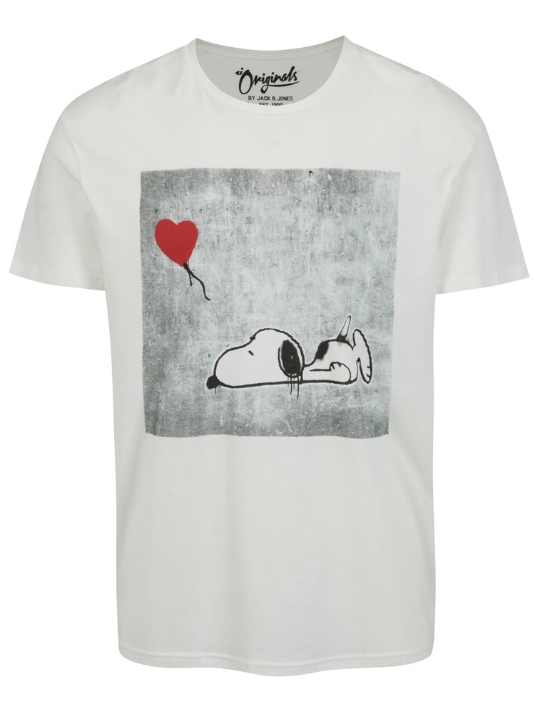 Tricou crem cu print Snoopy Jack & Jones Snoop