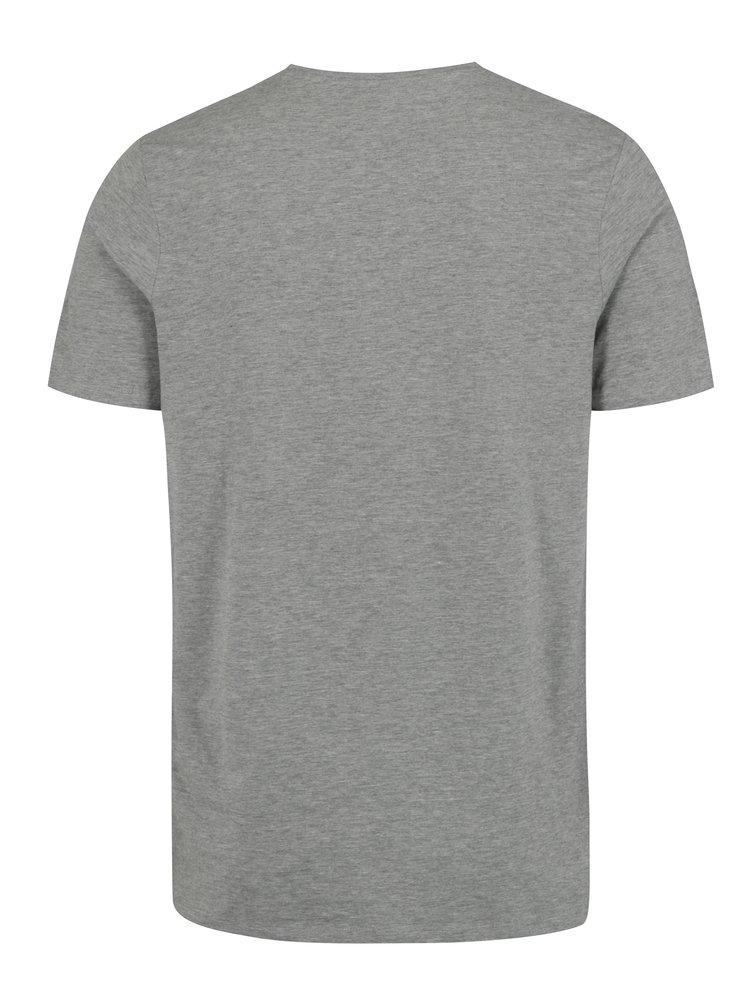 Světle šedé žíhané tričko s potiskem Jack & Jones Bass