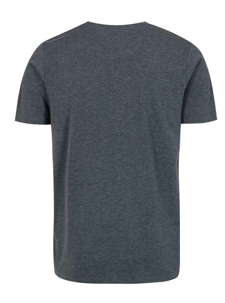Tmavě šedé žíhané tričko s potiskem Jack & Jones Bass