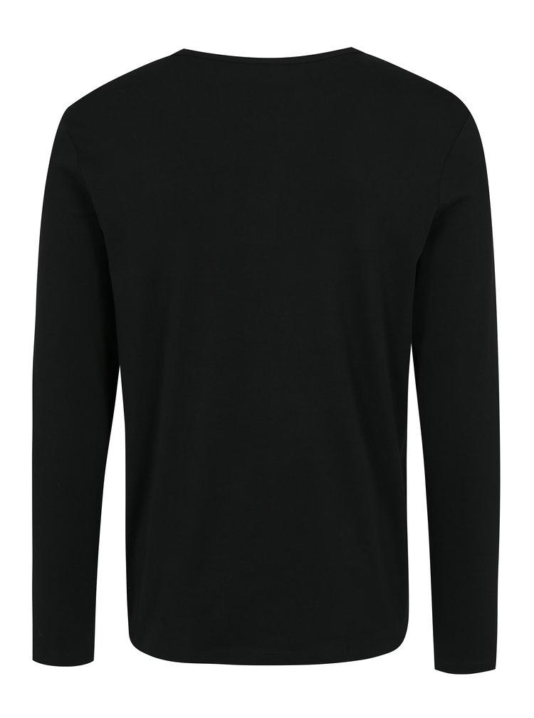 Černé tričko s dlouhým rukávem Jack & Jones Placket