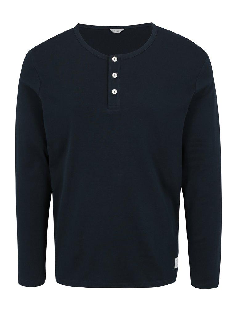 Tmavě modré tričko s dlouhým rukávem Jack & Jones Placket