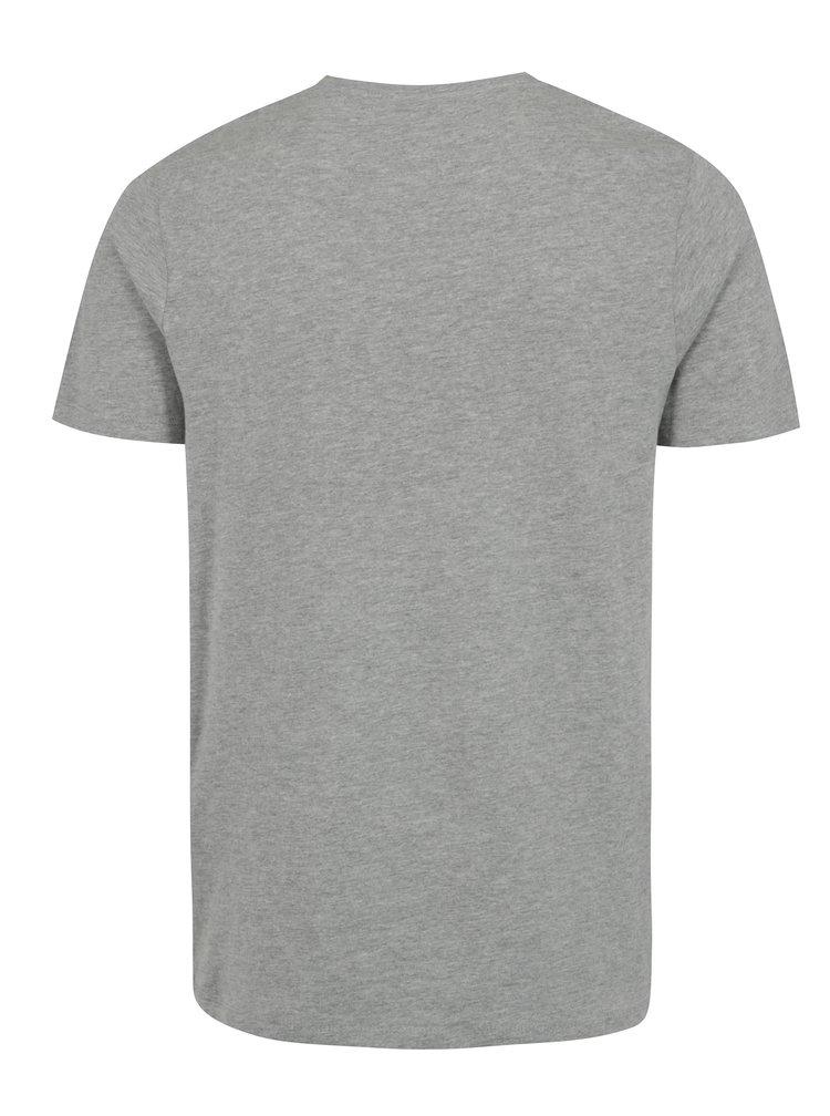 Světle šedé žíhané tričko s potiskem a kulatým výstřihem Jack & Jones Smokey