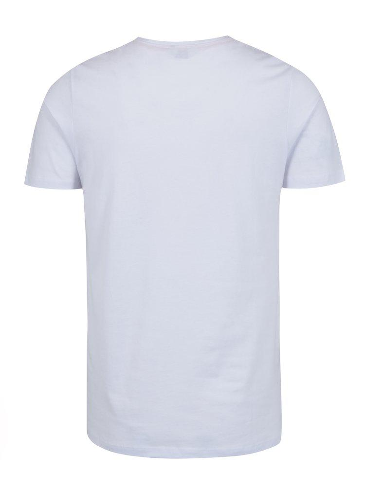 Bílé tričko s kulatým výstřihem a potiskem Jack & Jones Smokey