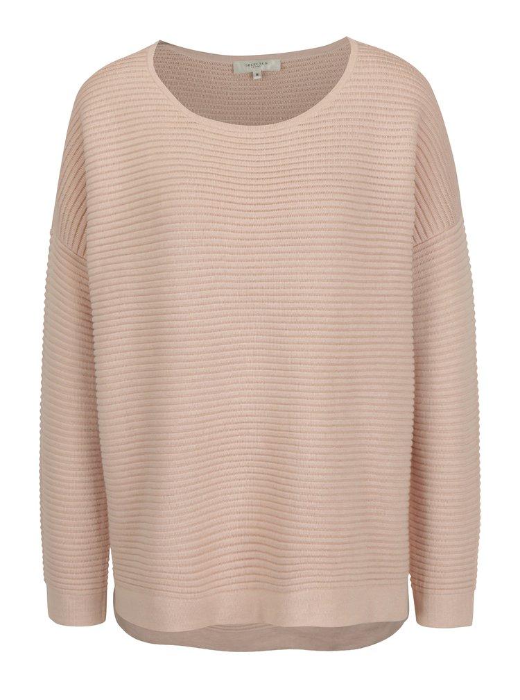 Světle růžový žebrovaný svetr Selected Femme Laua