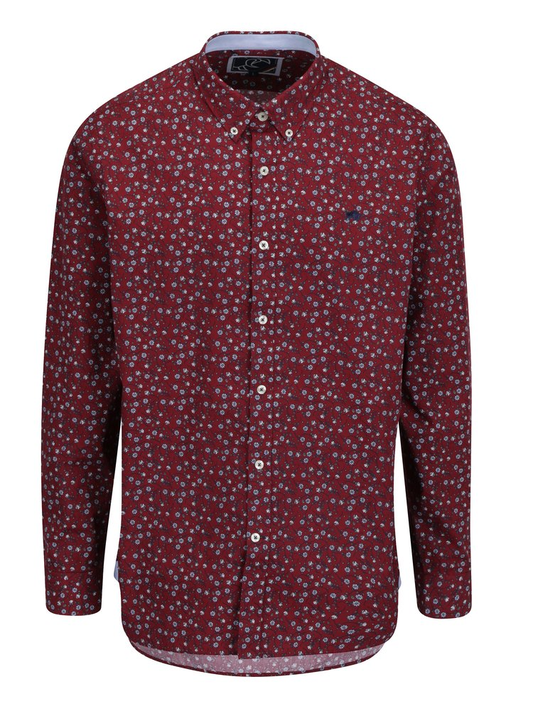Vínová květovaná košile Raging Bull