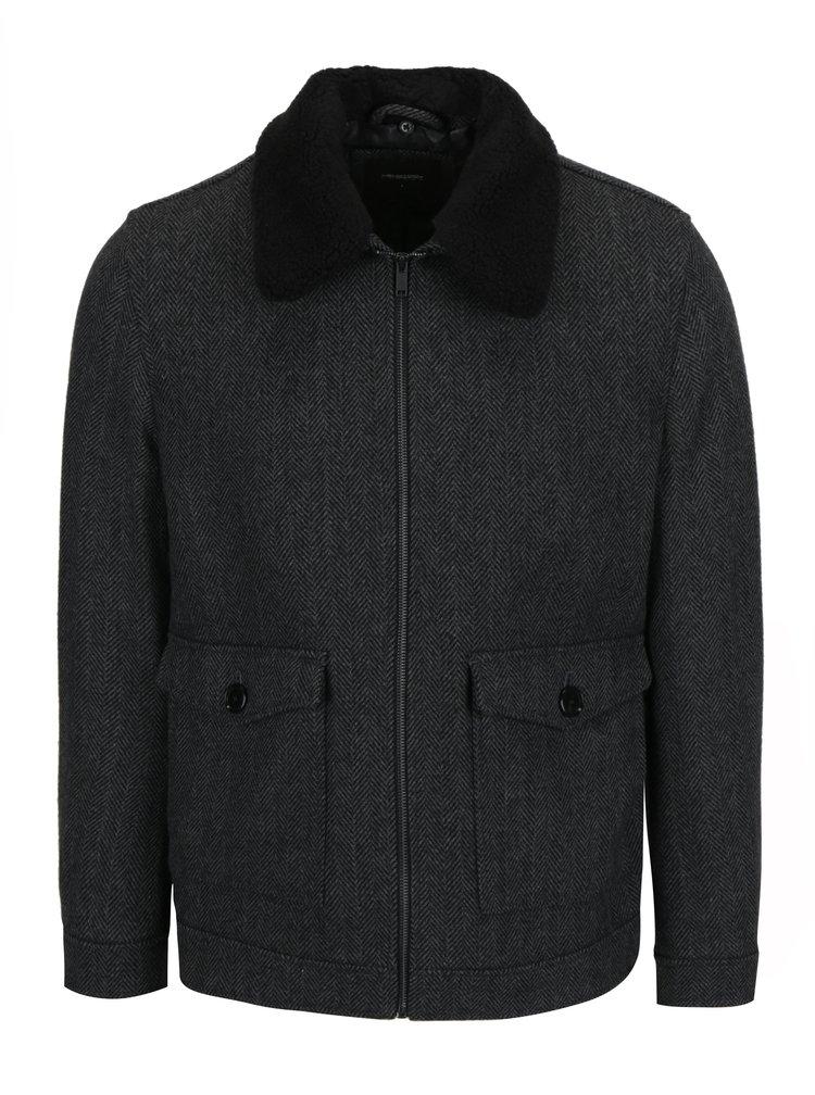 Palton scurt gri&negru din amestec de lana Burton Menswear London