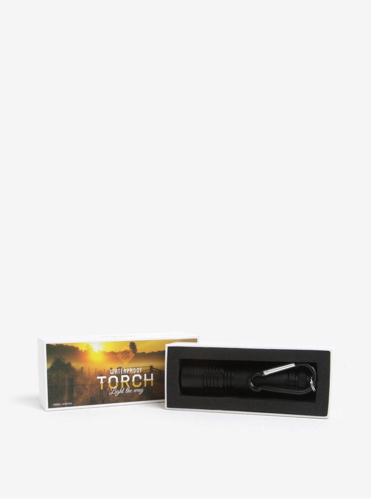 Čierna vodotesná baterka Gift Republic